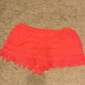 Neon lace detailed shorts